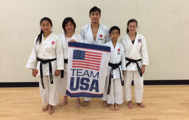 JKA NorCal representatives in the USA team (from left): Zuri Yip, Sensei Christina Foo (coach), Sensei Khim Torres, Phillip Hu, Ciara Stuhler